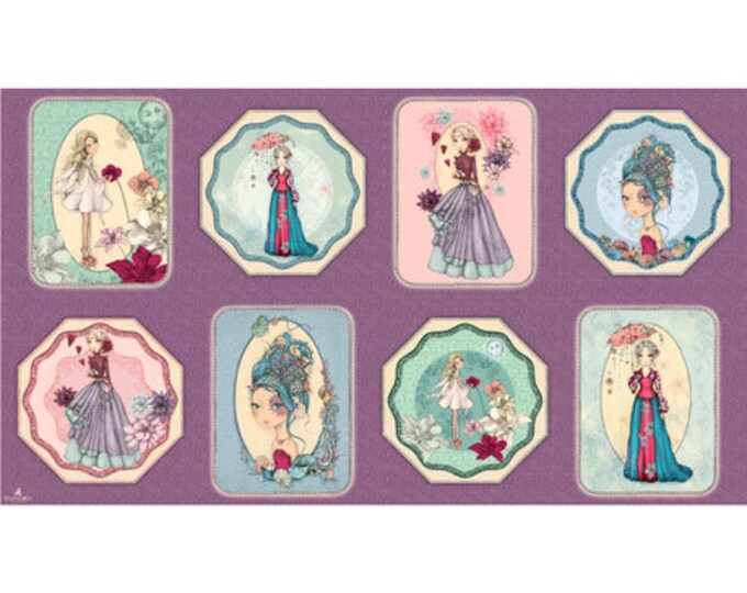 QT Fabrics Midnight Garden Patches -  2/3 yard Panel -  Wisteria 26941-V 100% cotton (#5)