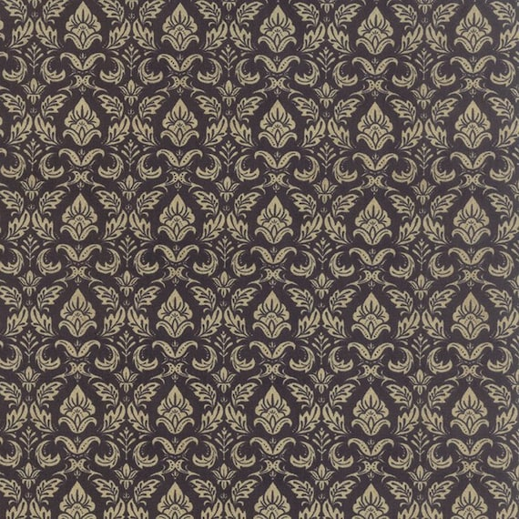 Black Tie Affair by Basic Grey 30421-16 Floral Fleur De Lis Black Moda 100% Cotton Fabric