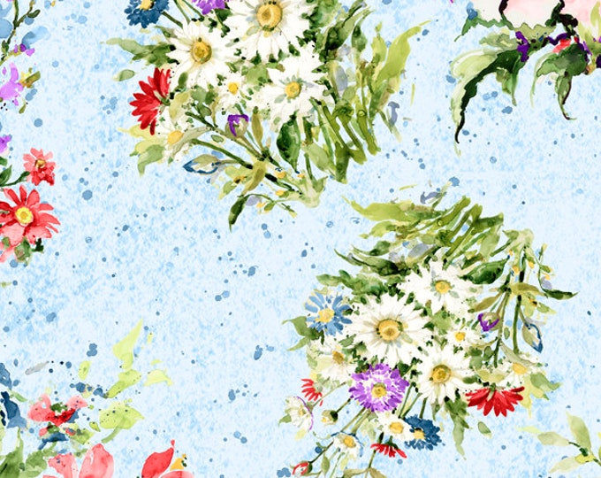 """Meadow Bloom Tossed Bouquets Blue by Wilmington Prints  39671-447 44"""" wide 100% Cotton Fabric"""