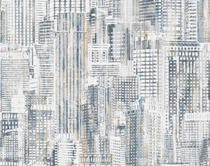 "Northcott City Lights City Scene White Multi 23957-91- 100% Cotton 44/45"" wide fabric"