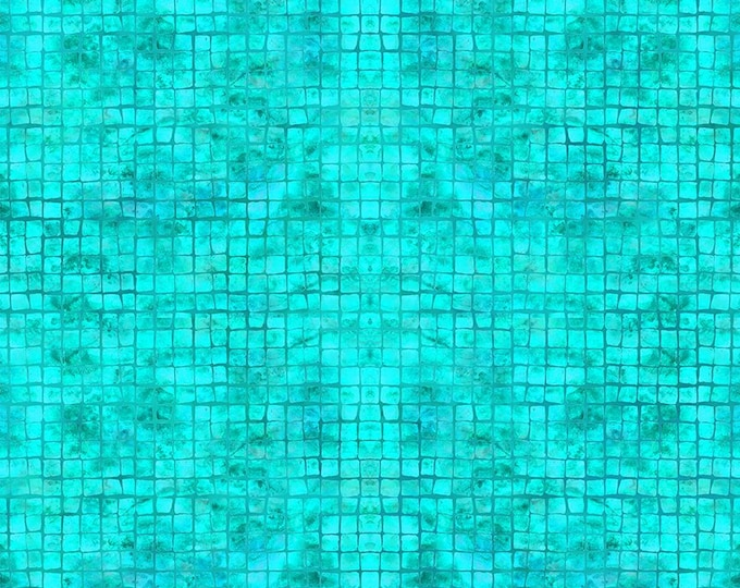 """Calypso II Teal Mosaic  by  In The Beginning Fabrics   44"""" wide 100% Cotton Fabric"""