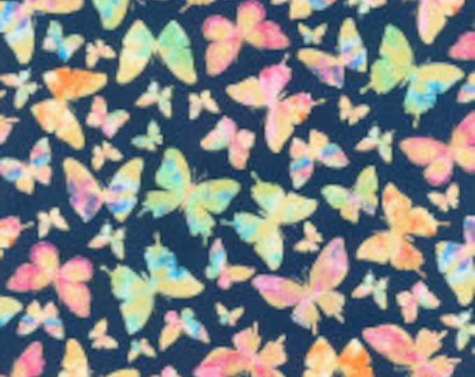 Kanvas Studios Watercolor Wishes Butterfly Wishes Navy 7941m-55  44-inch Wide Cotton Fabric Yardage