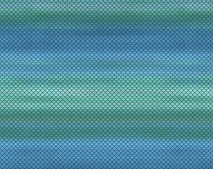 "Mermaid In Blue Jeans Blue Green Fish Scale Ombre 5586-61 Studios E Fabrics 44"" wide 100% Cotton Fabric"
