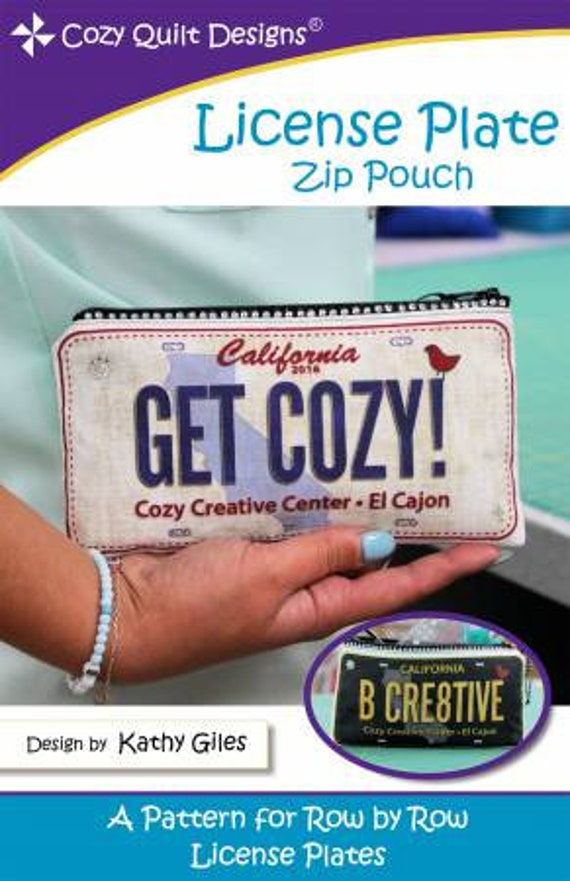 Cozy Quilt Designs License Plate Zip Pouch by Kathy Giles Pattern Only