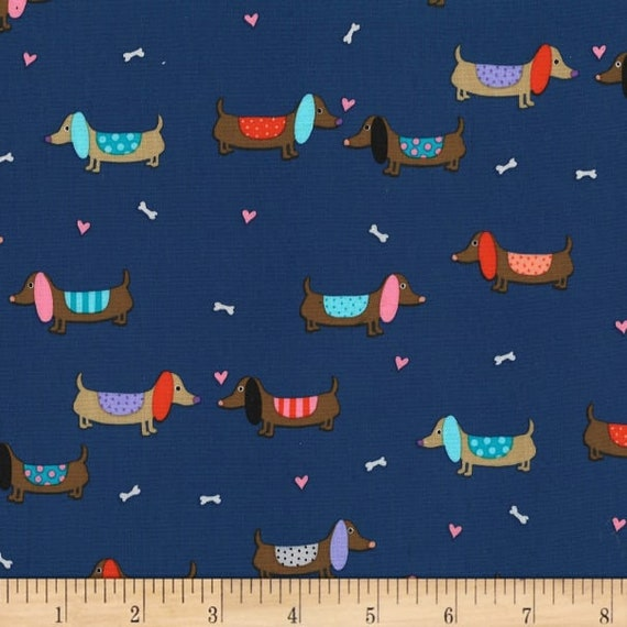 "Puppy Love - Blue -  Michael Miller   100% cotton 44/45"" wide fabric"