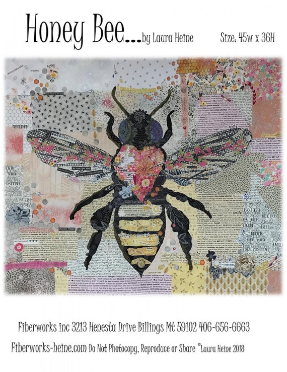 Honey Bee by Laura Heine Collage Pattern Only