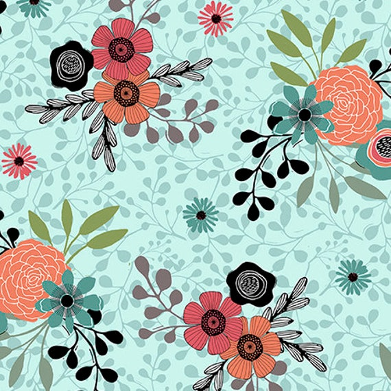 "Piece of Cake QT Fabrics Lt Teal floral 44"" wide 100% Cotton Fabric"