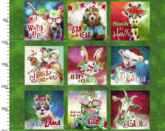 """Sassy Holiday Animals Panel    by Conie Haley   3 Wishes (#24)   44"""" wide 100% Cotton Fabric"""