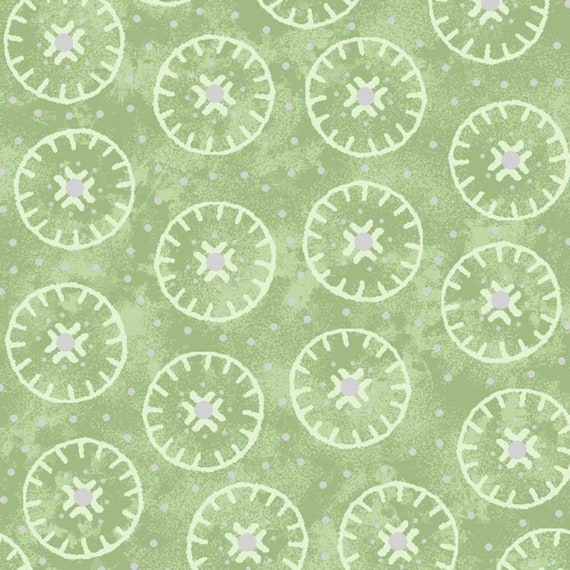 """Oasis Enchanted Cotton Circles Light Green 100% Cotton Fabric 44/45"""" wide"""