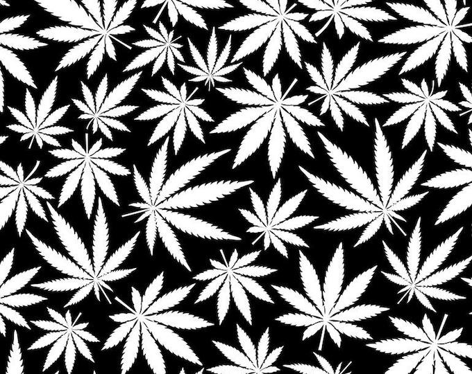 "Glow In The Dark Cannabis Pot by Timeless Treasures Fun-CG8538 100% Cotton 44/45"" Wide Fabrics"
