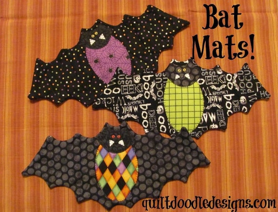 Going Batty Mug Mats by Quilt Doodle Designs - Pattern Only
