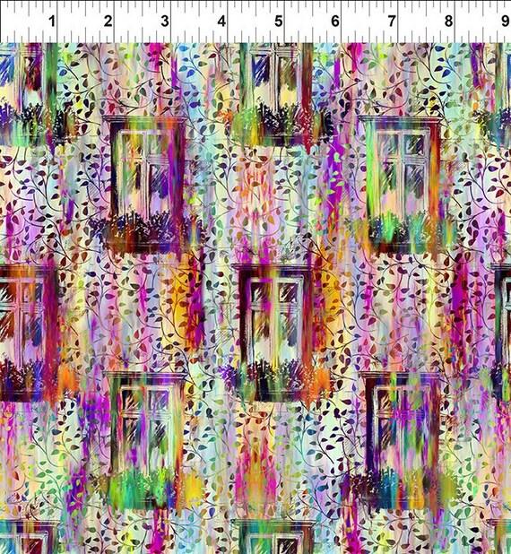 Urban Jungle Window Garden Multi Yenter In The Beginning Fabrics Digital 44-inch Wide Cotton Fabric Yardage 100% cotton
