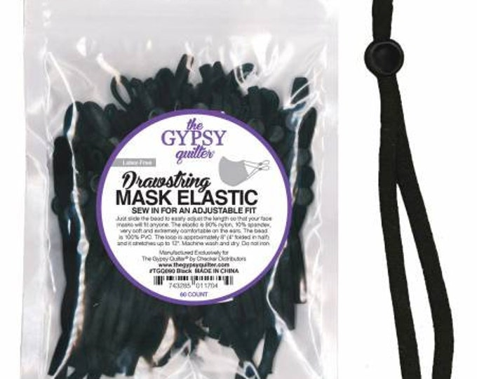 Drawstring Mask Elastic Black 60ct by The Gypsy Quilter