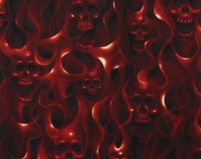 "Skulls On Fire Red Alexander Henry 100% Cotton 44/45"" Wide Fabrics"