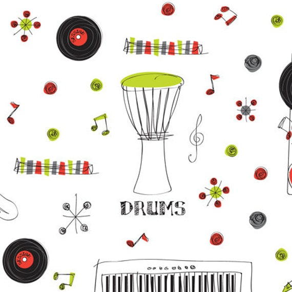 """Ink & Arrow The Beat Musical Instruments White 44"""" wide 100% Cotton Fabric"""