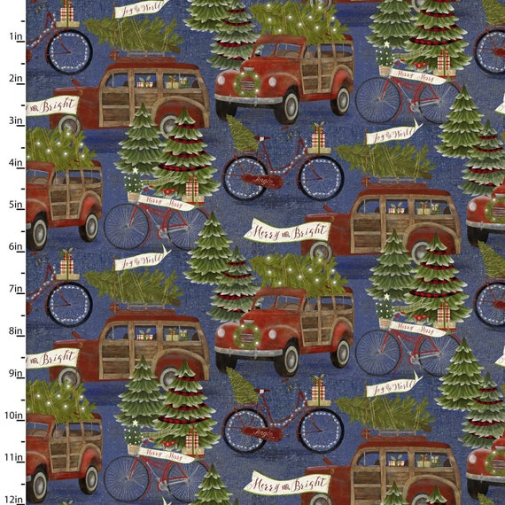 "Jingle All The Way by Beth Albert  -Hauling the Tree-   3 Wishes   44"" wide 100% Cotton Fabric"