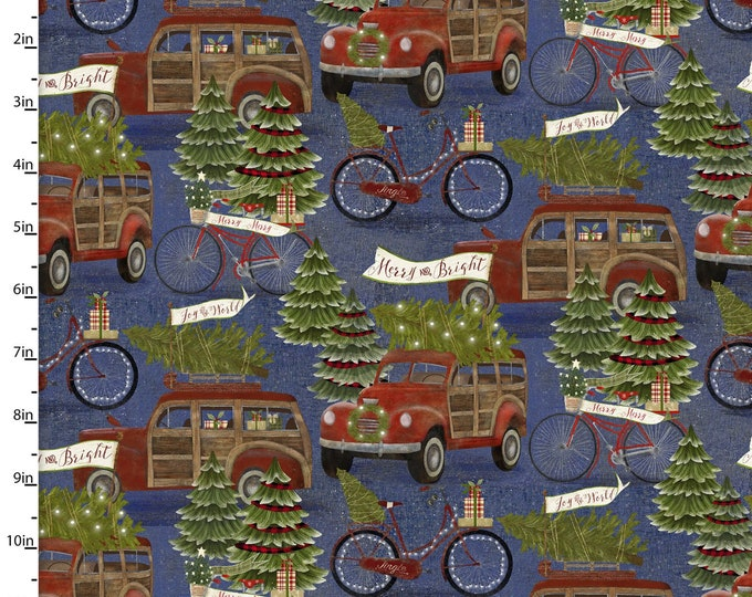 """Jingle All The Way by Beth Albert  -Hauling the Tree-   3 Wishes   44"""" wide 100% Cotton Fabric"""