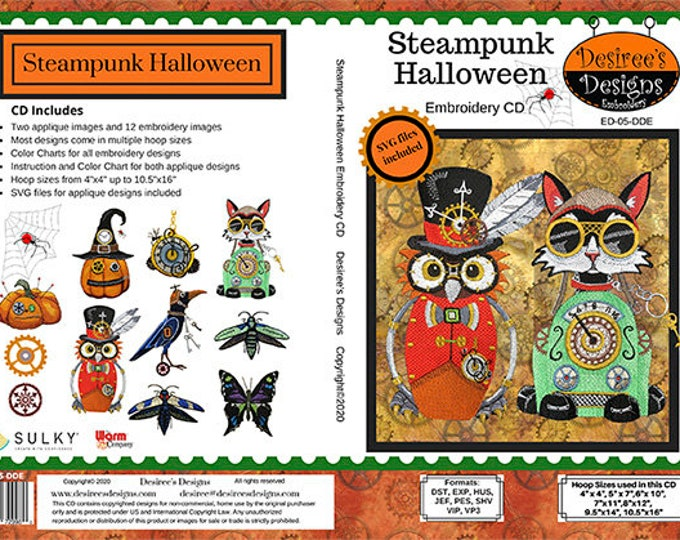 Steampunk Halloween Embroidery CD by Desiree's Designs. Dst, Exp, Hus, Pes, Shv, Vip, Vp3