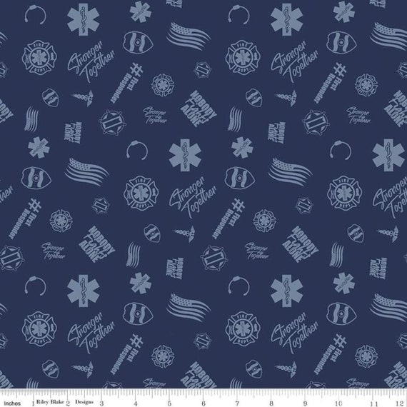 "Nobody Fights Alone by Riley Blake  C10421  Navy First Responders  100% Cotton 44/45"" wide fabric"