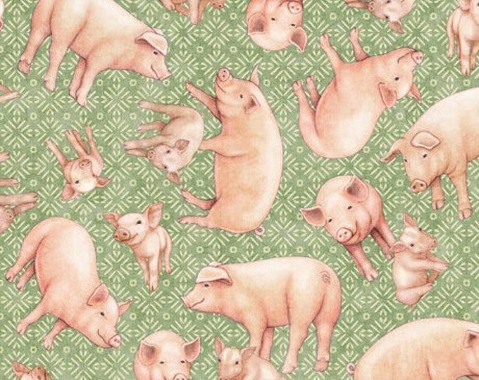 """Greener Pastures by Dan Morris for QT Fabrics 28087-G Pigs 100% cotton 44/45"""" wide fabric"""