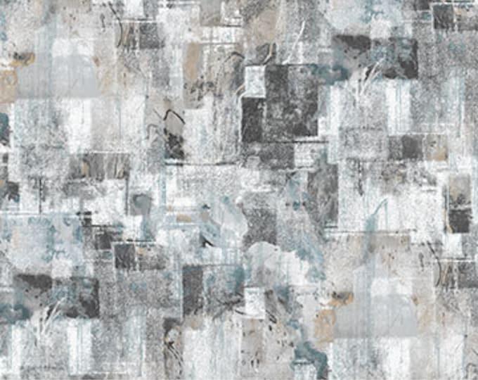 "Northcott City Lights Large Textured Blocks Light Grey 23958-93- 100% Cotton 44/45"" wide fabric"