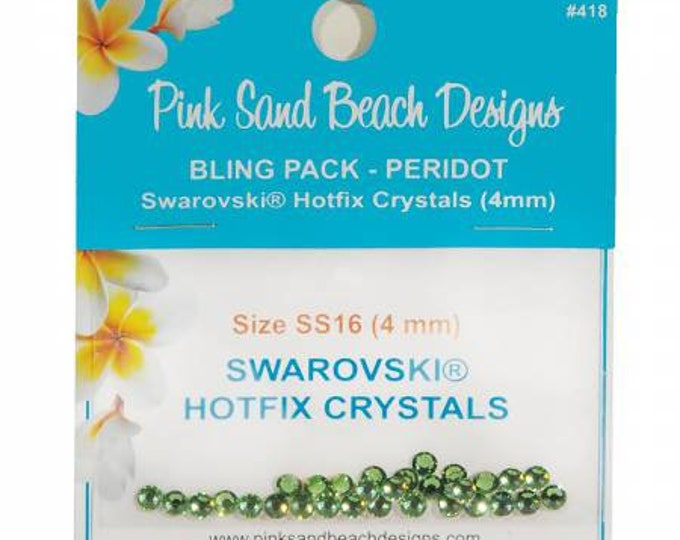 Swarovski Hotfix Crystals 4mm Pink Sand Beach Bling Pack Peridot 30ct