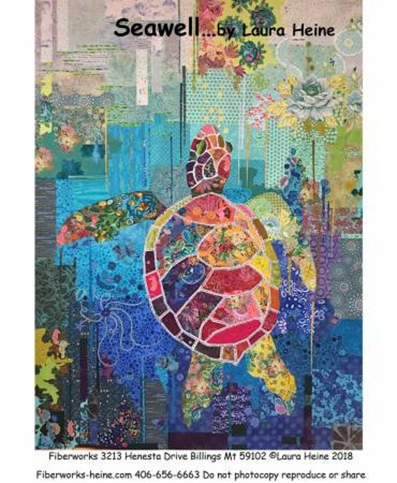 Seawell Turtle by Laura Heine Collage Pattern Only
