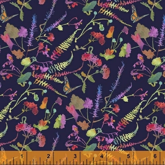 "Fox Wood  by Betsy Olmsted for  Windham Fabrics 51921-6 Navy 44"" wide 100% Cotton Fabric"