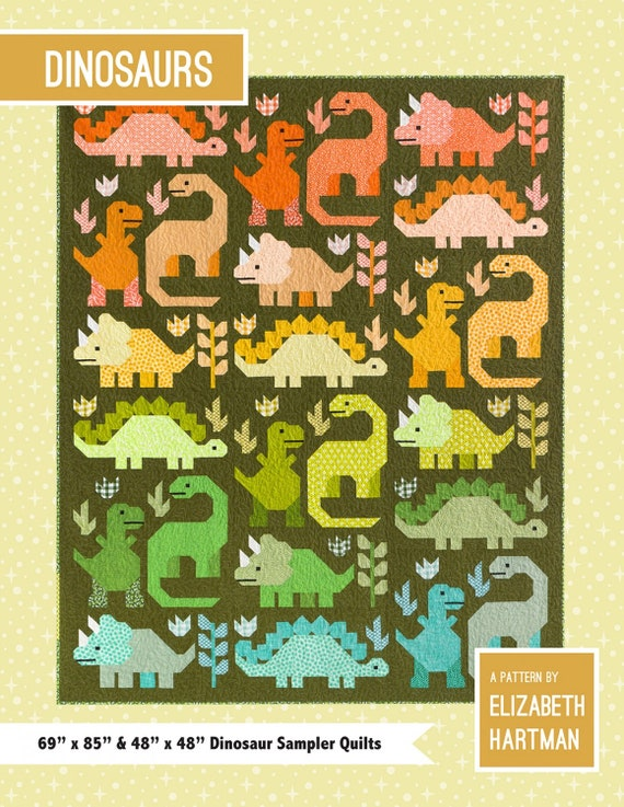 Elizabeth Hartman Dinosaurs- Dinosaur Sampler Quilt Pattern Only