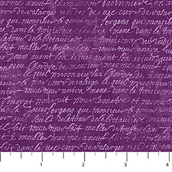 "Wicked Purple Script Northcott 100% Cotton 44/45"" Wide Fabrics"