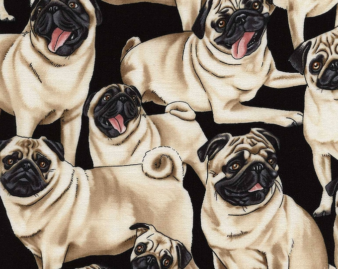 """Pugs by Timeless Treasures GM-C2488  100% Cotton 44/45"""" Wide Fabrics"""