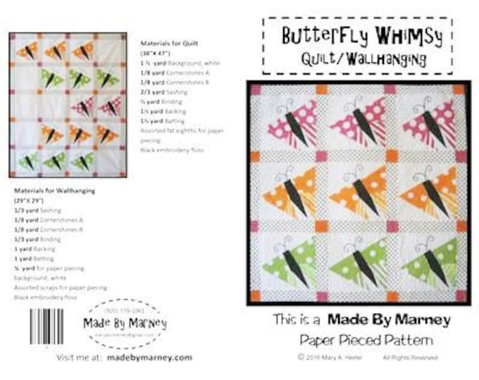 Butterfly Whimsy - Made By Marney  Paper pieced pattern. Pattern Only