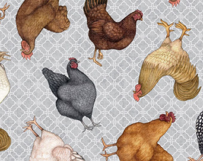 """Greener Pastures by Dan Morris for QT Fabrics 28084-K Chickens 100% cotton 44/45"""" wide fabric"""