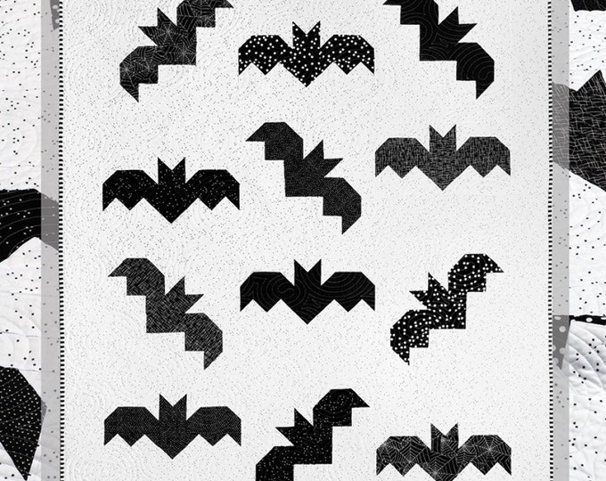 """Bats by Cluck Cluck Sew 54"""" x 69"""" Pattern Only"""