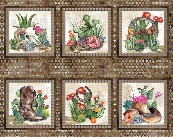 """Southwest  36"""" Panel by In The Beginning Jason Yenter 44"""" wide 100% Cotton Fabric (#7)"""