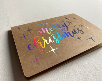 Sparkly Holographic Christmas Cards, 5 pack, Calligraphy, Handmade greeting cards
