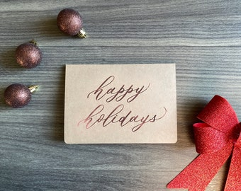 Rose Gold Happy Holiday Cards, 5 pack, calligraphy, Handmade greeting cards