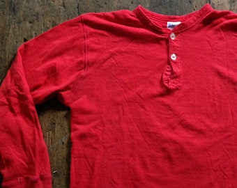 de405726 CLEARANCE Vintage 1970s // 70s DuoFold two layer fabric red henley neck long  sleeve shirt