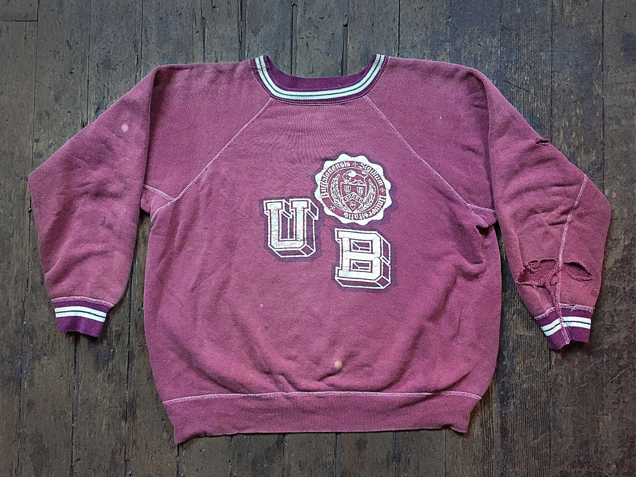 promo code cc5e2 d6841 SHOP SALE // 1950s University Of Buffalo - State university of New York  Raglan reverse weave U of B pull over sweat shirt