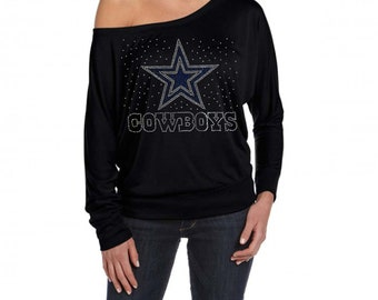 c3cf2d46d Football Dallas Cowboys Bling Rhinestones Bella Ladies  Long-Sleeve Dolman  Top