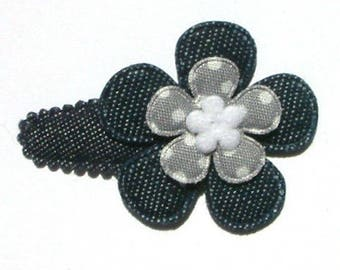 No Slip Hair Clip for Baby Girls with Big Blue Jean Flower