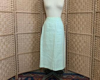 1980's Mint Pencil Skirt . Linen . volup / xl