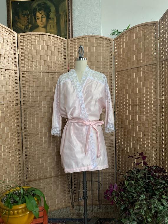 1980's Flirty Pinstripe Mini Robe - medium