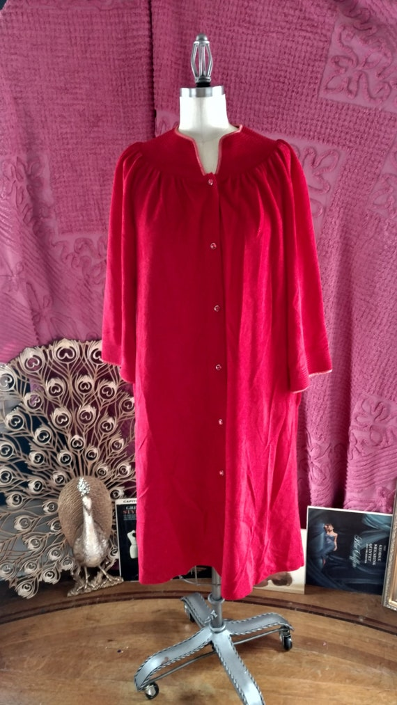 1960s Softest Ruby Housecoat - medium / large