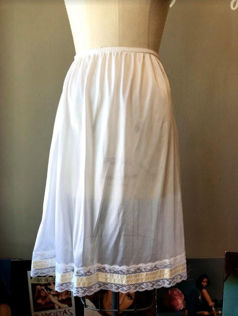 a6d2f2570 Mid-Century Vintage Ribbon Slip   NOS NWT White Half Slip 50s