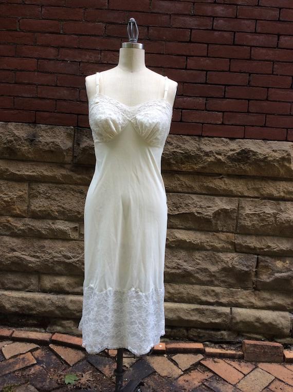 497f29a1d 1960s Vanity Fair Champagne Lace Slip Dress   60s Bridal