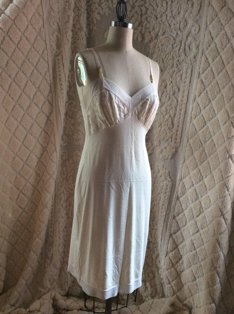 6c550facd1829 1950s Minimal Chic White Slip Dress / 50s Vassarette Nightgown   Etsy