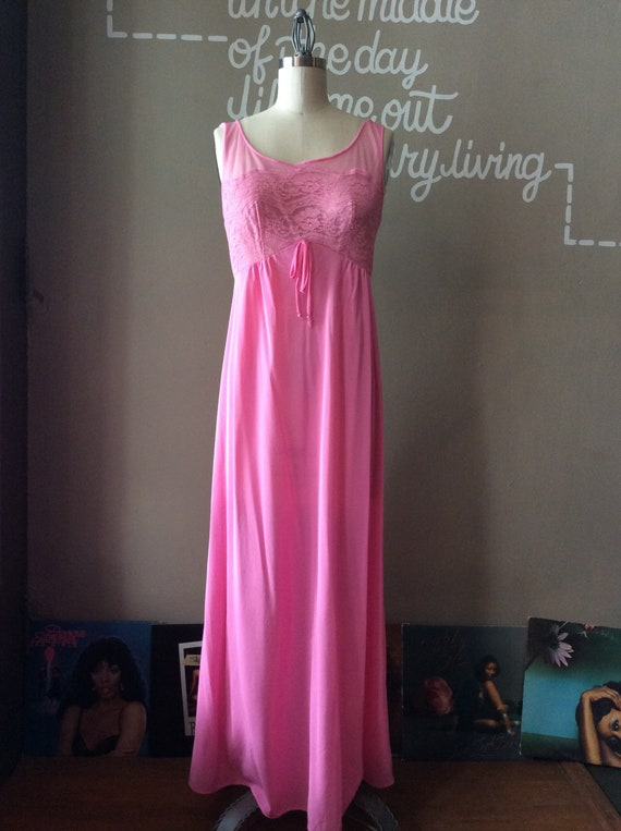 1950s Dreamy Full Length Nightgown - small / mediu