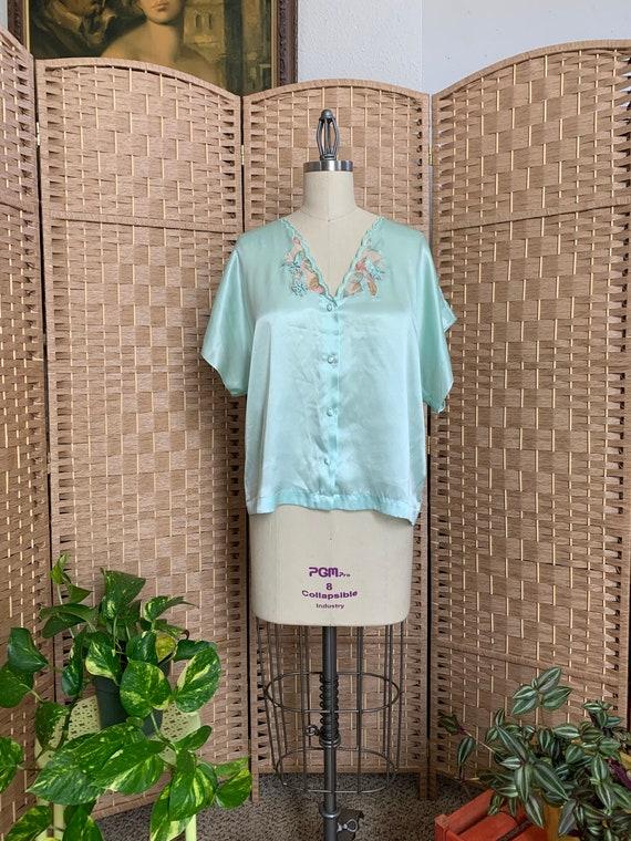 1980s Flirty Pajama Blouse . Val Mode . - medium