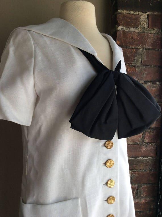 Mod 60s Yacht Sailor Linen Couture Dress Tunic Buttons Gold Beatlemania Silk Dress Wiggle 1960's 60's Pussybow Lichtenstein Twiggy 1960s qwCXEE